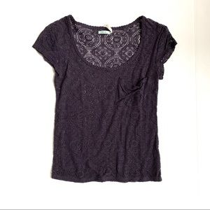 ⭐️4/$25 UO Kimchi Blue Purple Crochet Knit Top